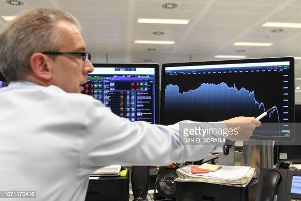 Markets chief market analyst Michael Hewson indicates indicates on a graph showing the sharp dip in the value of the Great British Pound Sterling...