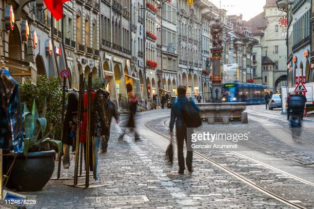 markgasse street in bern - bern stock pictures, royalty-free photos & images