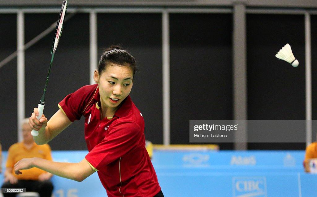 Pan Am Women's doubles badminton semi final : News Photo