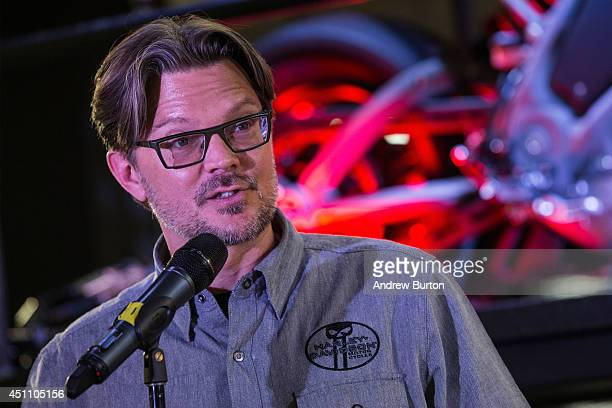 MarkHans Richer Harley Davidson's chief marketing officer speaks at a press conference unveiling the Harley Davidson Livewire motorcycle the...