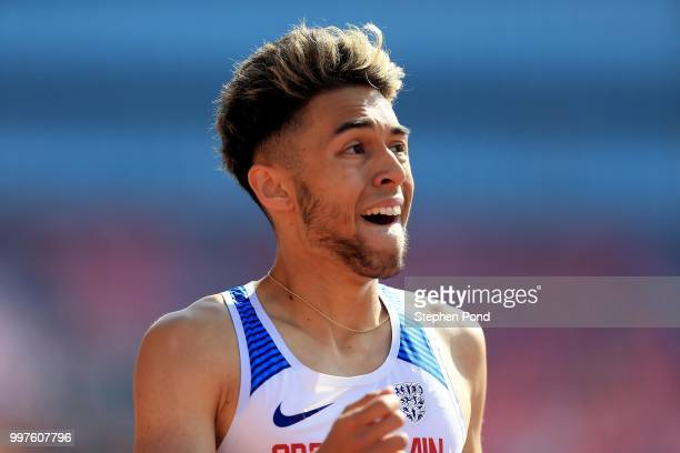 Markhim Lonsdale of Great Britain looks on during heat 3 of the men's 800m heats on day four of The IAAF World U20 Championships on July 13 2018 in...