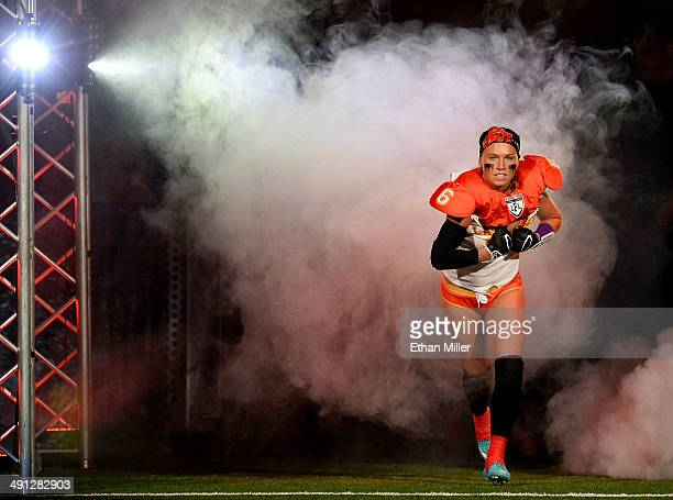 Markie Henderson of the Las Vegas Sin is introduced before the team's game against the Green Bay Chill at the Thomas Mack Center on May 15 2014 in...