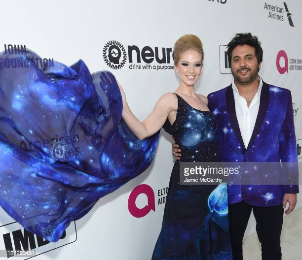 Markie Pear and Zaeem Jamal attend the 27th annual Elton John AIDS Foundation Academy Awards Viewing Party sponsored by IMDb and Neuro Drinks...