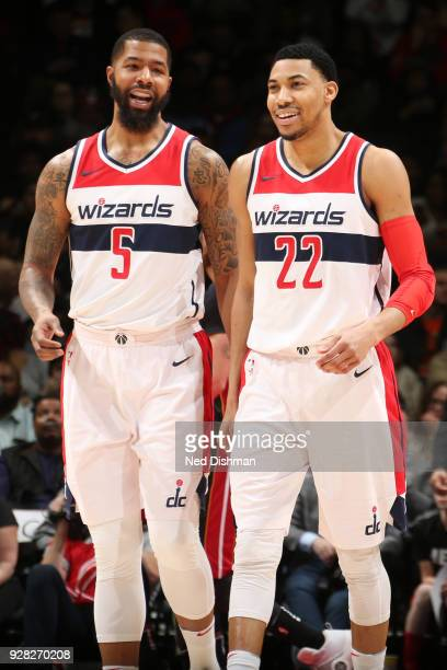 Markieff Morris and Otto Porter Jr #22 of the Washington Wizards talk during the game against the Miami Heat on March 6 2018 at Verizon Center in...