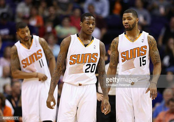 Markieff Morris Archie Goodwin and Marcus Morris of the Phoenix Suns during the NBA game against the Sacramento Kings at US Airways Center on...