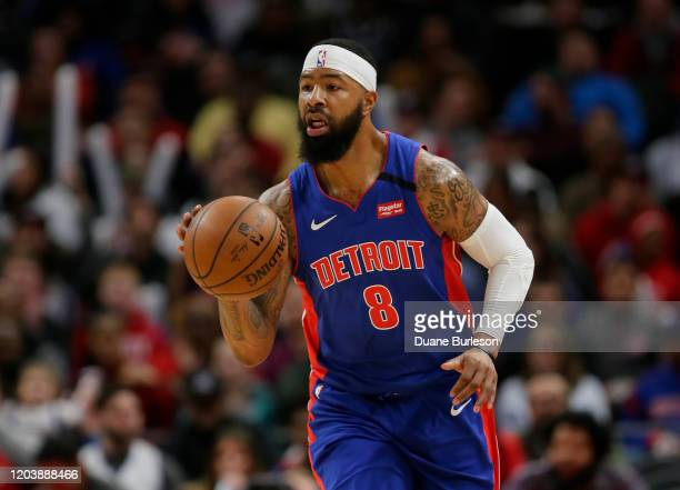 Markieff Morris of the Detroit Pistons brings the ball up court against the Brooklyn Nets during the first half at Little Caesars Arena on January 25...