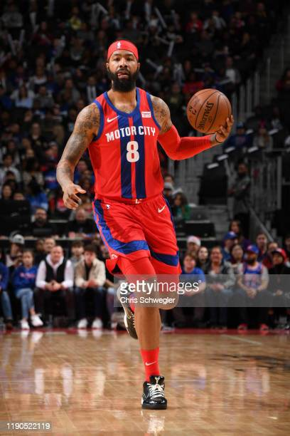 Markieff Morris of the Detroit Pistons dribbles up court against the Washington Wizards on December 26 2019 at Little Caesars Arena in Detroit...
