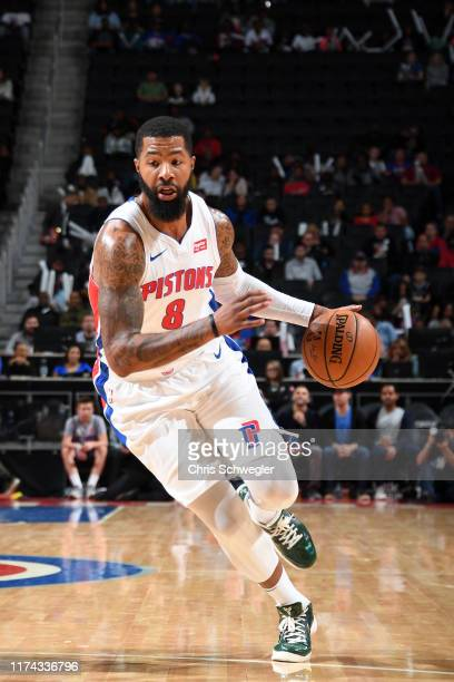 Markieff Morris of the Detroit Pistons handles the ball against the Orlando Magic during a preseason game on October 7 2019 at Little Caesars Arena...