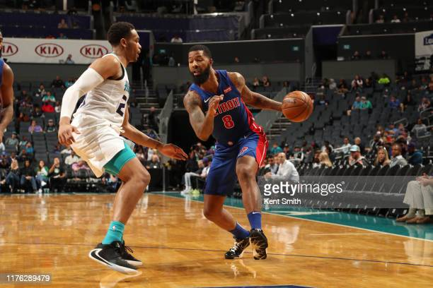 Markieff Morris of the Detroit Pistons handles the ball against the Charlotte Hornets during a preseason game on October 16 2019 at Spectrum Center...