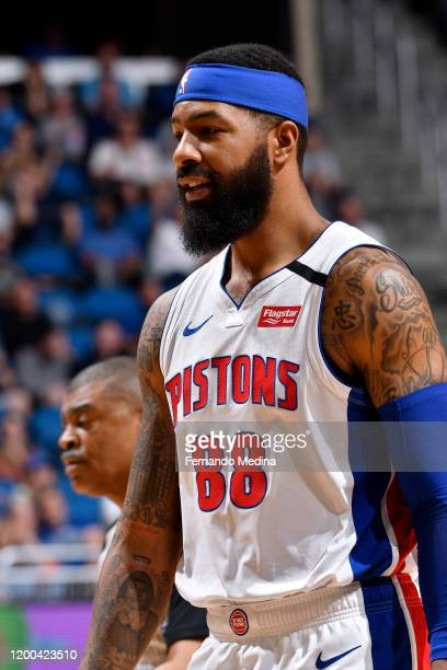 Markieff Morris of the Detroit Pistons looks on during the game against the Orlando Magic on February 12 2020 at Amway Center in Orlando Florida NOTE...