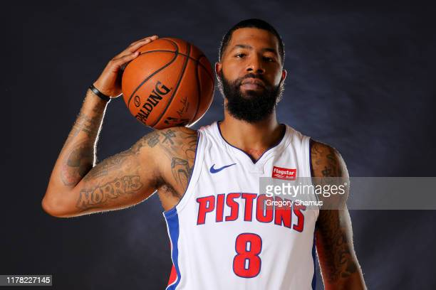 Markieff Morris of the Detroit Pistons poses for a portrait during the Detroit Pistons Media Day at Pistons Practice Facility on September 30 2019 in...