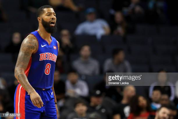 Markieff Morris of the Detroit Pistons reacts against the Charlotte Hornets during their game at Spectrum Center on October 16 2019 in Charlotte...