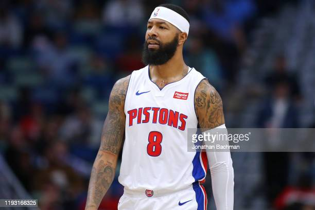 Markieff Morris of the Detroit Pistons reacts against the New Orleans Pelicans during the first half at the Smoothie King Center on December 09 2019...