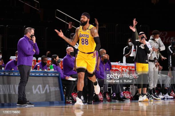 Markieff Morris of the Los Angeles Lakers celebrates a three point basket during the game against the New York Knicks on April 12, 2021 at Madison...