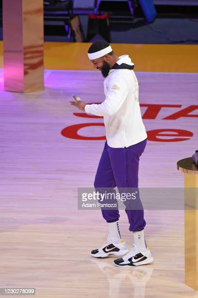Markieff Morris of the Los Angeles Lakers reacts as he gets his 2019-20 NBA Championship ring during the ring ceremony before the game against the LA...