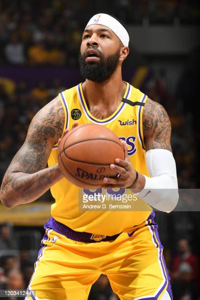 Markieff Morris of the Los Angeles Lakers shoots a free throw against the New Orleans Pelicans on February 25 2020 at STAPLES Center in Los Angeles...