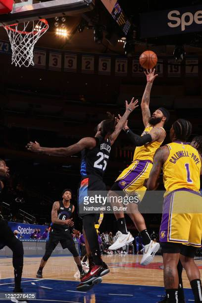 Markieff Morris of the Los Angeles Lakers shoots the ball during the game against the New York Knicks on April 12, 2021 at Madison Square Garden in...