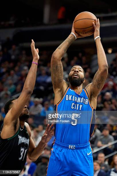 Markieff Morris of the Oklahoma City Thunder shoots the ball against Keita BatesDiop of the Minnesota Timberwolves during the game on March 5 2019 at...