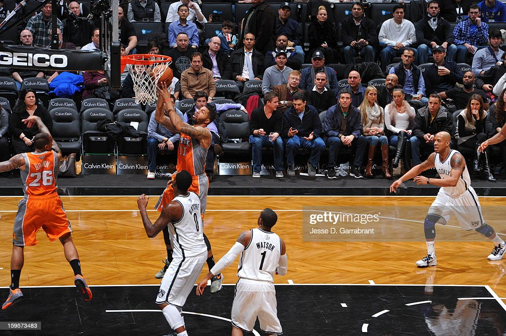 Markieff Morris #11 of the Phoenix Suns puts up a shot against the Brooklyn Nets at the Barclays Center on January 11, 2013 in Brooklyn, New York.