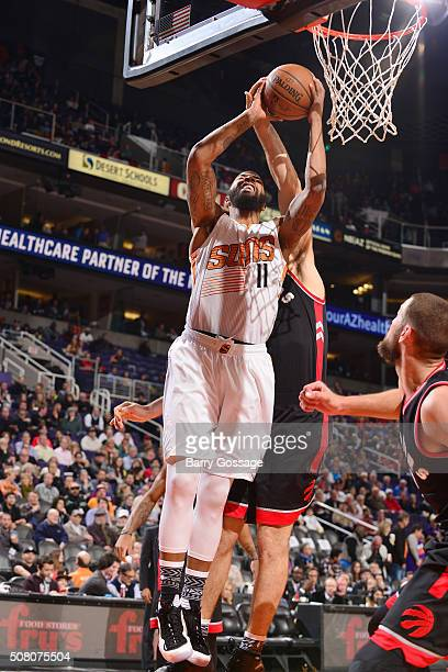Markieff Morris of the Phoenix Suns shoots a layup against the Toronto Raptors on February 2 2016 at Talking Stick Resort Arena in Phoenix Arizona...