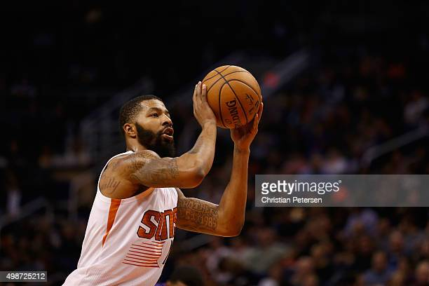 Markieff Morris of the Phoenix Suns takes a free throw shot against the Sacramento Kings during the NBA game at Talking Stick Resort Arena on...