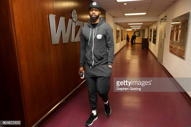 Markieff Morris of the Washington Wizards arrives at the stadium before the game against the Brooklyn Nets on January 13 2018 at Capital One Arena in...
