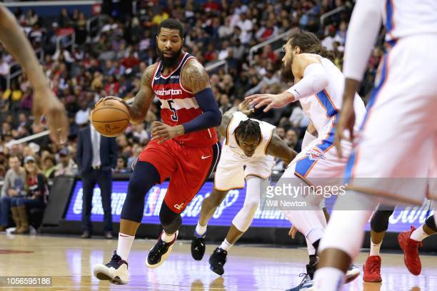 Markieff Morris of the Washington Wizards dribbles against the Oklahoma City Thunder during the second half at Capital One Arena on November 2 2018...