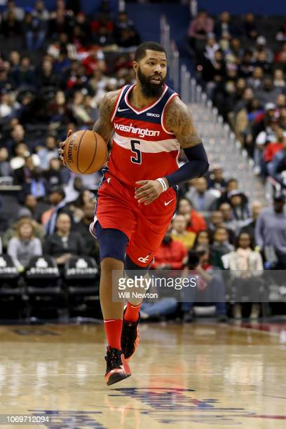 Markieff Morris of the Washington Wizards dribbles against the Portland Trail Blazers during the first half at Capital One Arena on November 18 2018...
