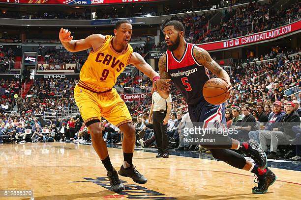 Markieff Morris of the Washington Wizards drives to the basket against Channing Frye of the Cleveland Cavaliers on February 28 2016 at Verizon Center...