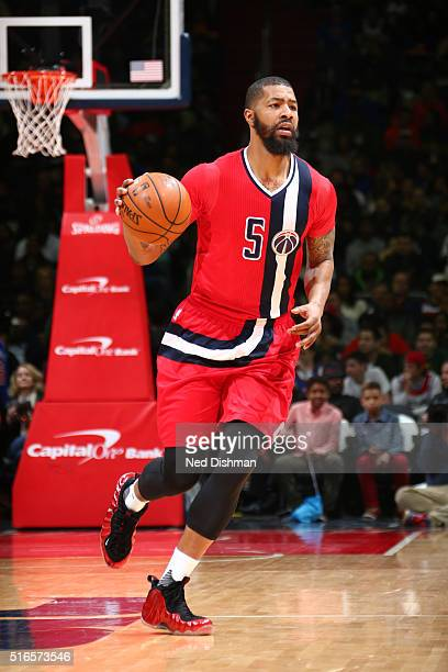 Markieff Morris of the Washington Wizards drives to the basket against the New York Knicks during the game on March 19 2016 at Verizon Center in...