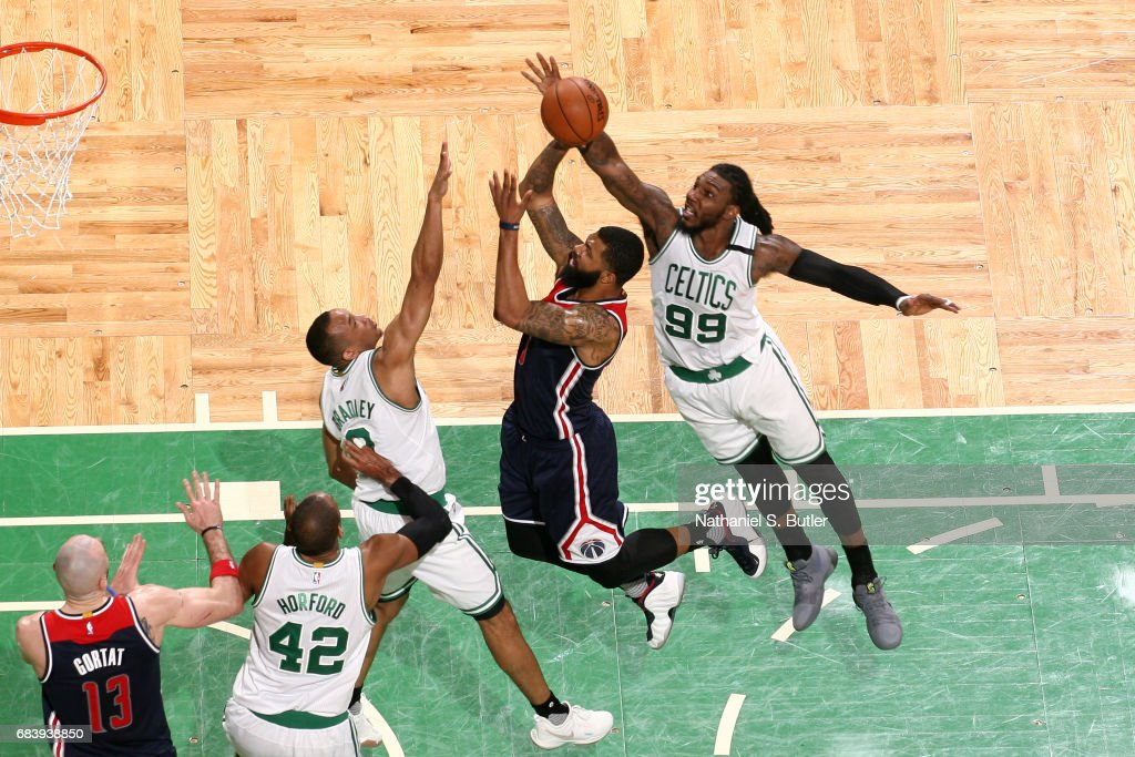Markieff Morris #5 of the Washington Wizards goes up for a shot against Jae Crowder #99 of the Boston Celtics during Game Seven of the Eastern Conference Semifinals of the 2017 NBA Playoffs on May 15, 2017 at TD Garden in BOSTON, MA.
