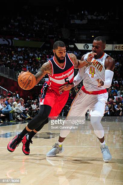 Markieff Morris of the Washington Wizards handles the ball against the Atlanta Hawks on October 27 2016 at Philips Arena in Atlanta Georgia NOTE TO...