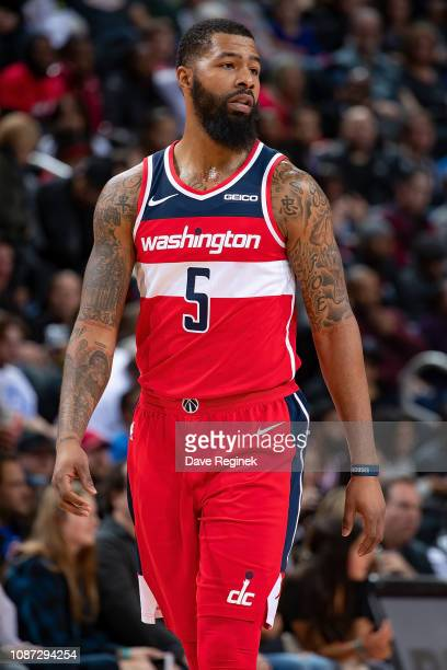 Markieff Morris of the Washington Wizards looks down court against the Detroit Pistons in the second half of an NBA game at Little Caesars Arena on...