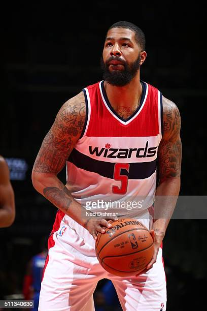 Markieff Morris of the Washington Wizards prepares to shoot a free throw against the Detroit Pistons on February 19 2016 at Verizon Center in...