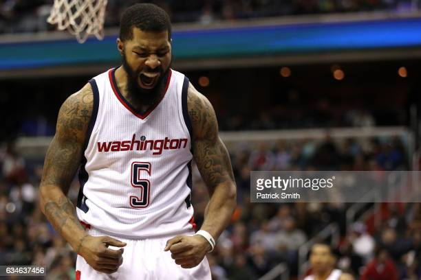 Markieff Morris of the Washington Wizards reacts against the Indiana Pacers during the second half at Verizon Center on February 10 2017 in...