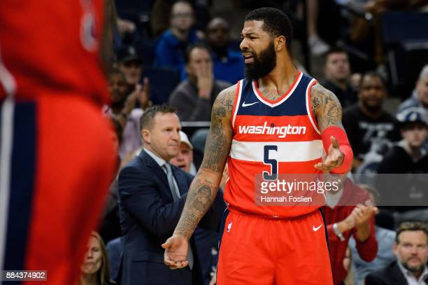 Markieff Morris of the Washington Wizards reacts to a call during the game against the Minnesota Timberwolves on November 28 2017 at the Target...
