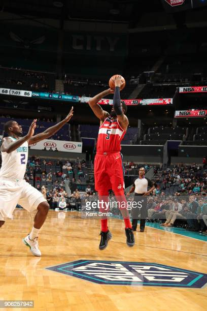 Markieff Morris of the Washington Wizards shoots the ball against the Charlotte Hornets on January 17 2018 at Spectrum Center in Charlotte North...