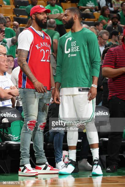 Markieff Morris of the Washington Wizards speaks to Marcus Morris of the Boston Celtics in Game Five of the Eastern Conference Finals against the...