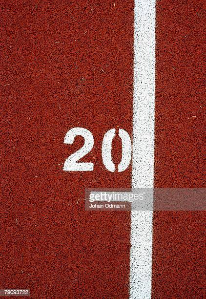 a marking on a running track. - number 20 stock pictures, royalty-free photos & images