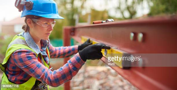marking the steel with french chalk - civil engineer stock photos and pictures