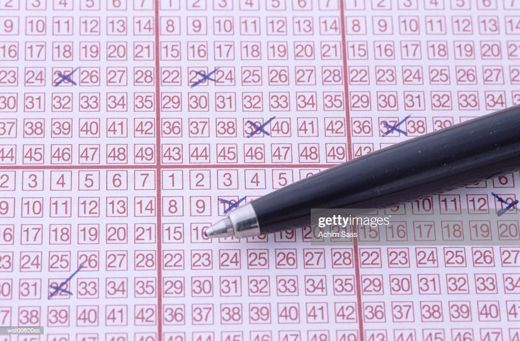 Markings on lottery ticket, close up : Foto de stock