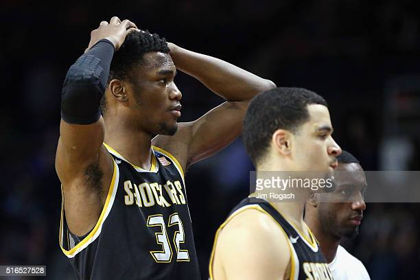 Markis McDuffie of the Wichita State Shockers reacts after being defeated by the Miami Hurricanes 6557 during the second round of the 2016 NCAA Men's...