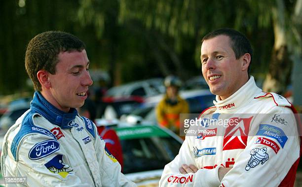 Markko Martin and Colin McRae talk during Leg 1 of the Rally of Argentina May 9 2003 in Argentina
