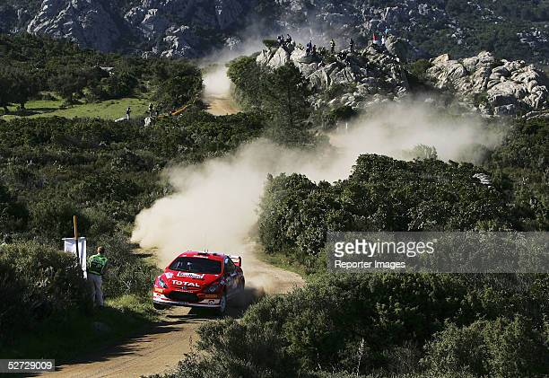 Markko Martin of Estonia competes in the Peugeot 307 during the WRC Rally Italia Shakedown on April 28 2005 in Olbia Sardinia Italy