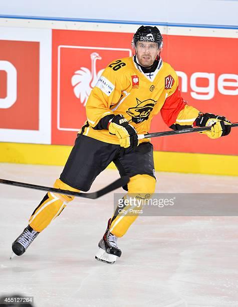 Markku Flinck of SaiPa Lappeenranta during the Champions Hockey League game between ERC Ingolstadt and SaiPa Lappeenranta on august 23, 2014 in...