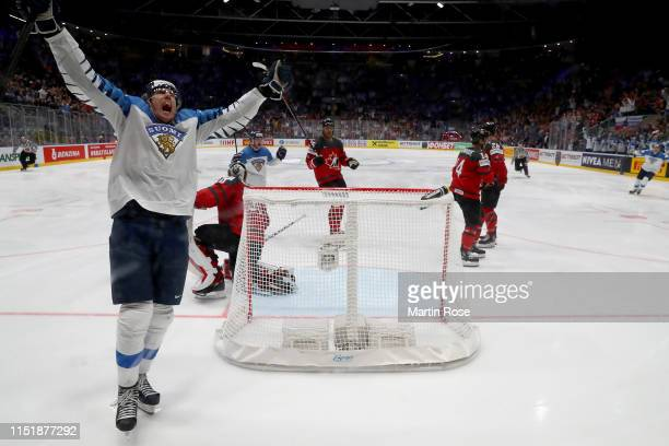 Marko Antilla of Finland celebrates after he scores his teams equalizing goal during the 2019 IIHF Ice Hockey World Championship Slovakia final game...