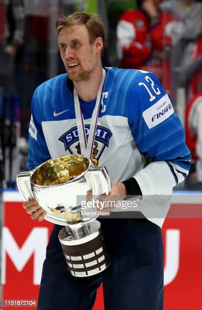 Marko Anttila celebrate with the trophy after winning the gold medal game over Canada during the 2019 IIHF Ice Hockey World Championship Slovakia...