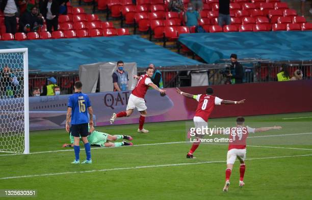 Marko Arnautovic of Austria celebrates scoring a goal which is later disallowed by VAR during the UEFA Euro 2020 Championship Round of 16 match...