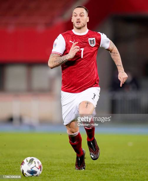 Marko Arnautovic of Austria chases the ball during the UEFA Nations League group stage match between Austria and Norway at Ernst Happel Stadion on...