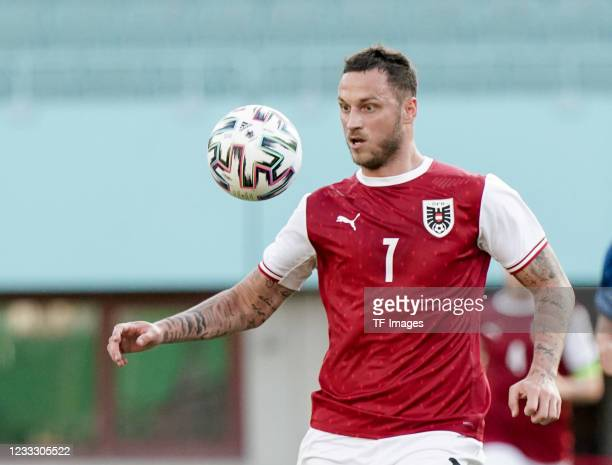 Marko Arnautovic of Austria controls the ball during the international friendly match between Austria and Slovakia at Happel Stadium on June 6, 2021...
